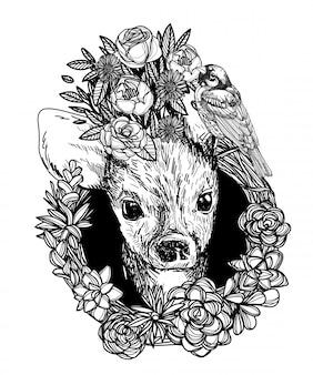 Cerf et fleurs croquis tête monochrome noir et blanc