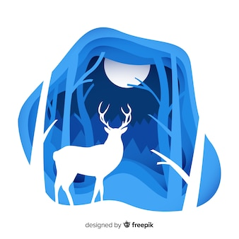 Cerf fond d'hiver