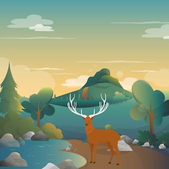Cerf sur la forêt fond illustration.vector