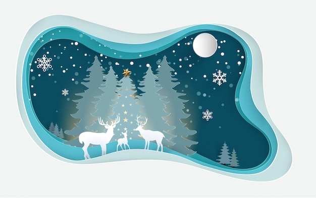 Cerf en forêt d'hiver avec des dessins d'art en papier.