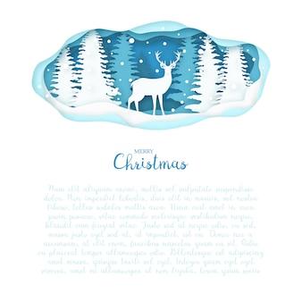 Cerf sur forêt d'hiver en papier coupé style.