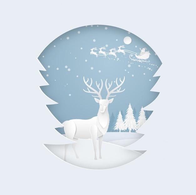 Cerf en forêt avec neige et père noël en hiver. noël, nouvel an