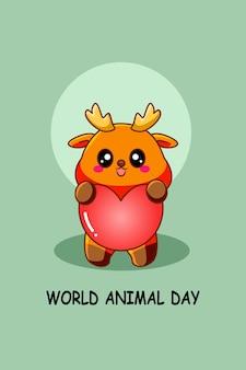 Cerf avec illustration de dessin animé pour la journée mondiale des animaux coeur