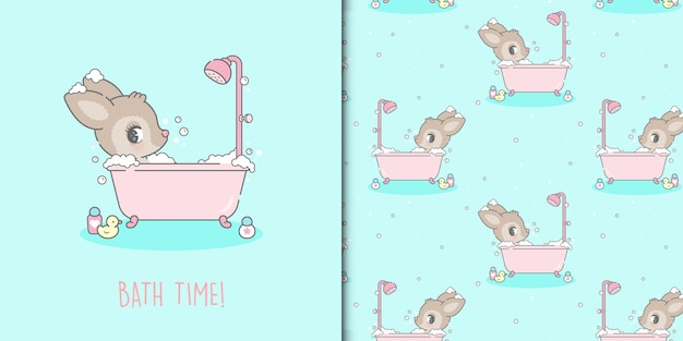 Cerf kawaii mignon prenant un bain et un modèle sans couture