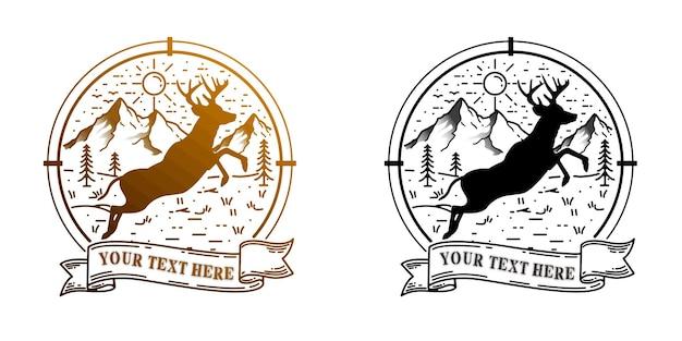 Cerf logo blanc vue naturelle