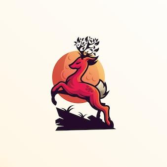 Cerf logo sur rose