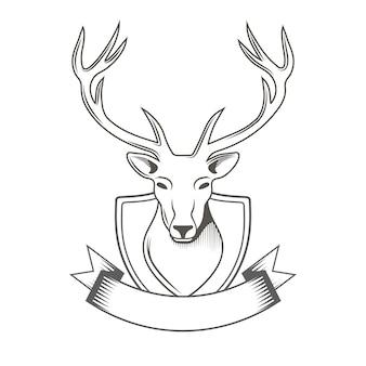 Cerf avec logo ruban isolé sur blanc pour club de chasseurs