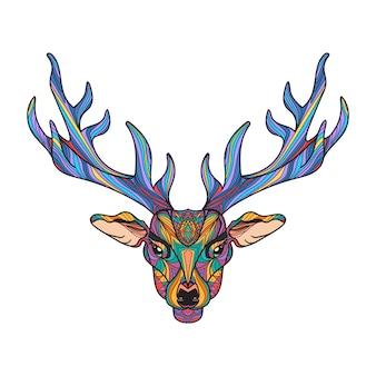 Cerf lumineux tête colorée avec des cornes