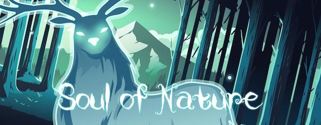 Cerf magique de bannière de bande dessinée d'âme de nature dans la forêt de nuit