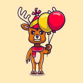 Cerf mignon célébrant la bonne année ou l'anniversaire avec des ballons