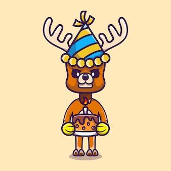 Cerf mignon célébrant la bonne année ou l'anniversaire