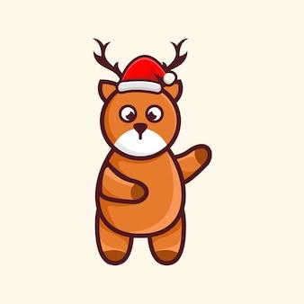 Cerf mignon avec chapeau noël personnage cartoon illustration design
