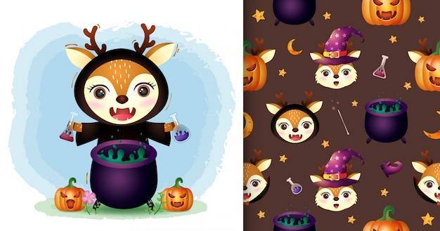 Un cerf mignon avec une collection de personnages halloween costume de sorcière. modèles sans couture et illustrations