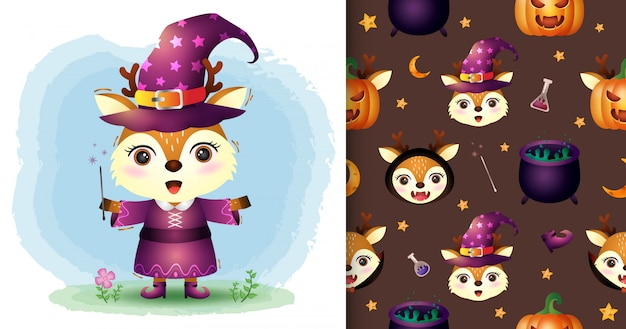 Un cerf mignon avec une collection de personnages d'halloween. modèles sans couture et illustrations