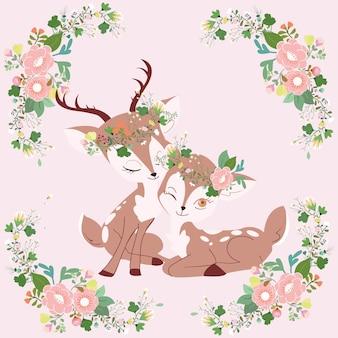 Cerf mignon couple en dessin animé cadre floral.