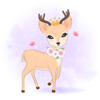Cerf mignon avec une couronne sur la tête illustration animale de dessin animé dessiné à la main