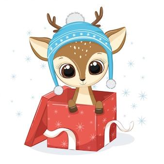 Cerf mignon dans une boîte cadeau.