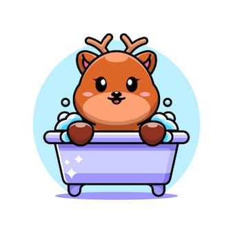 Cerf mignon dans un personnage de dessin animé de baignoire