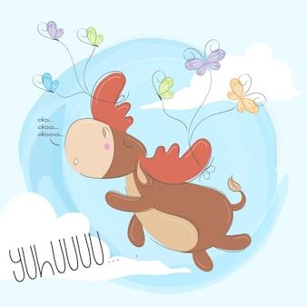 Cerf mignon dessiné à la main des animaux illustration-vecteur