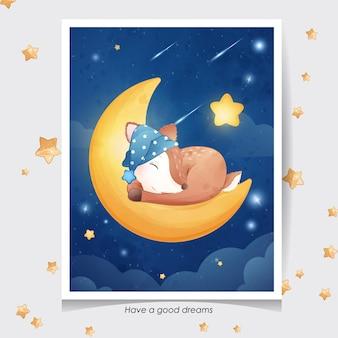 Cerf mignon doodle avec illustration aquarelle