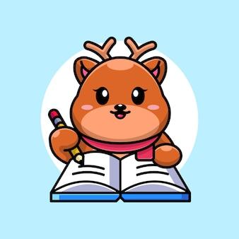 Cerf mignon écrit sur livre avec dessin animé au crayon
