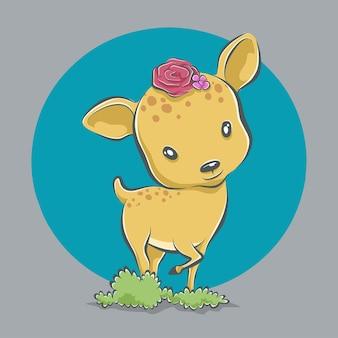 Cerf mignon avec illustration d'icône de dessin animé de fleur
