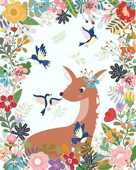 Cerf mignon et oiseau dans un cadre floral coloré.