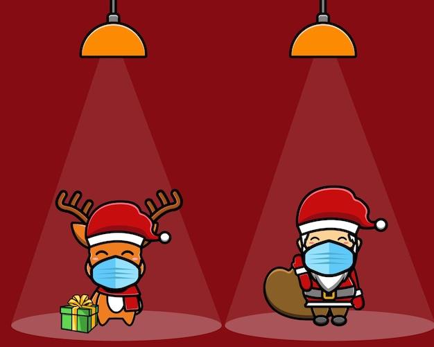Cerf mignon et père noël avec dessin animé de cadeaux