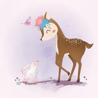 Cerf mignon et petit lapin avec des fleurs, couronne florale