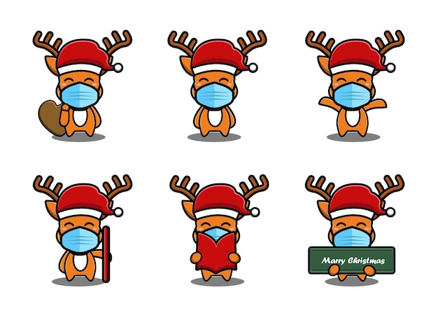 Cerf mignon portant un chapeau rouge