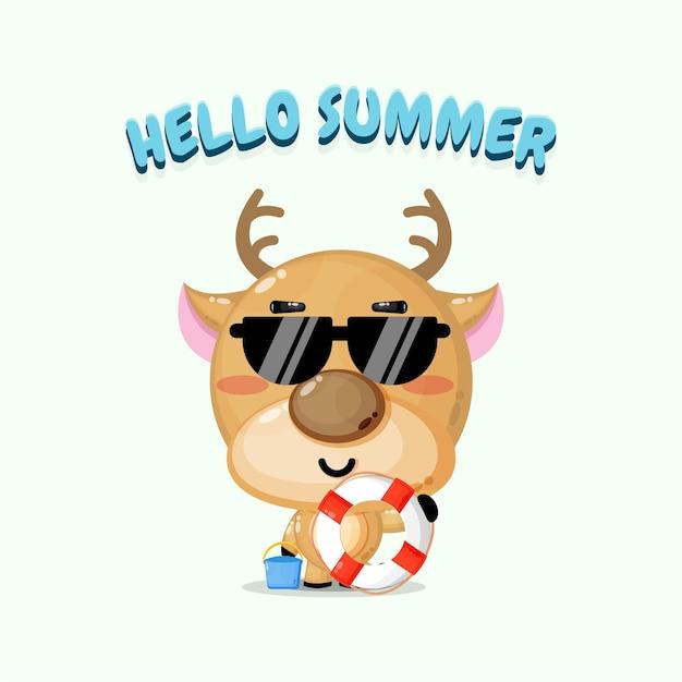 Cerf mignon portant un char avec des salutations d'été
