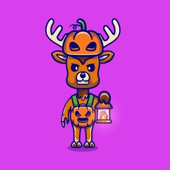 Cerf mignon portant un costume de citrouille d'halloween