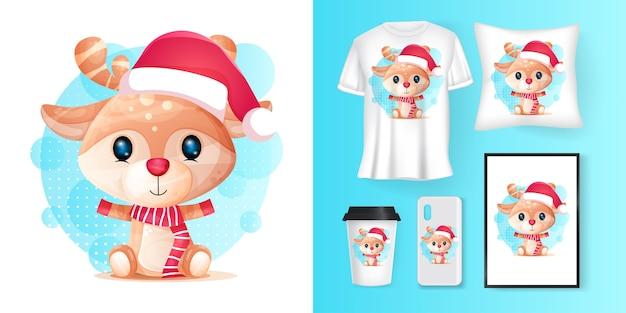 Cerf mignon avec santa custom et merchandising