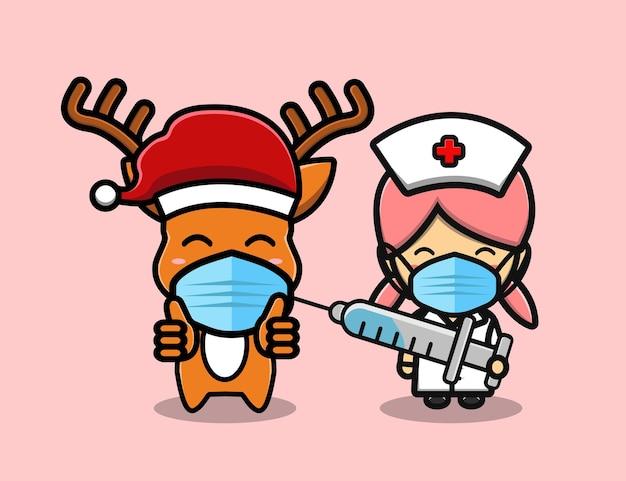 Le cerf mignon se fait vacciner par le dessin animé de mascotte d'infirmière