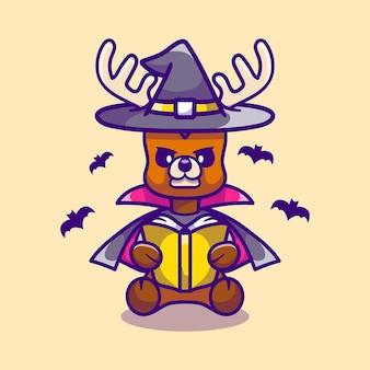 Cerf mignon sorcière d'halloween lisant un livre