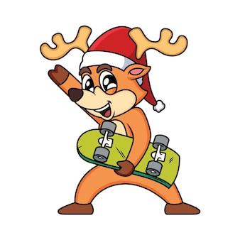Cerf mignon tenant illustration d'icône de planche à roulettes