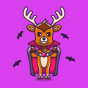 Cerf mignon vêtu d'un costume d'halloween vampire