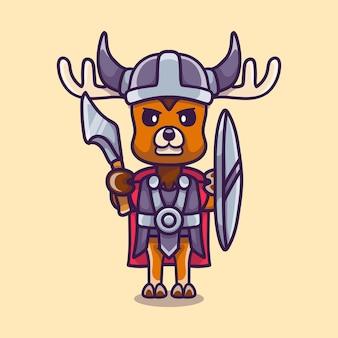 Cerf mignon viking avec hache et bouclier