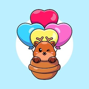 Cerf mignon volant avec dessin animé ballon d'amour