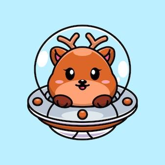 Cerf mignon volant avec dessin animé ovni de vaisseau spatial
