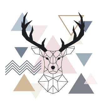 Cerf à museau géométrique. style scandinave.