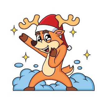 Cerf de noël avec dessin animé mignon pose