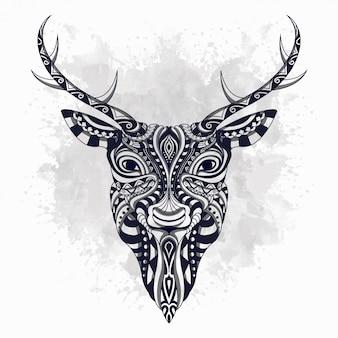 Cerf noir et blanc stylisé en style ethnique