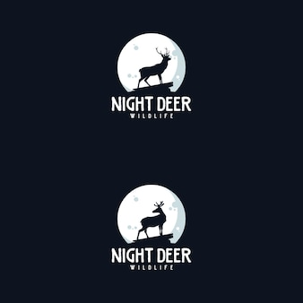 Cerf de nuit avec création de logo de symbole de lune