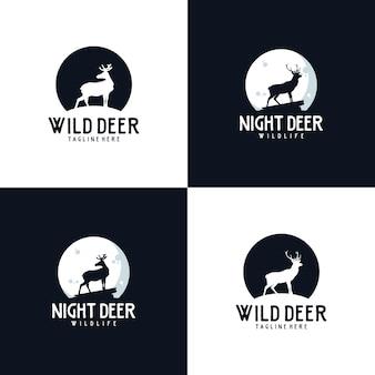 Cerf de nuit sauvage avec création de logo de symbole de lune
