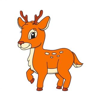Cerf orange. personnage mignon. illustration vectorielle coloré