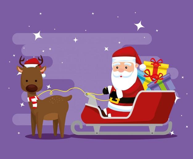 Cerf avec le père noël dans le traîneau et des cadeaux