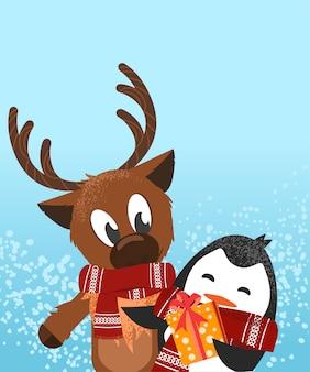 Un cerf et un pingouin célébrant la carte postale de noël