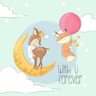 Cerf et renard mignons sur l'animal de bande dessinée de la lune