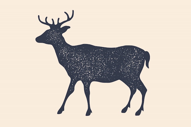 Cerf, silhouette. logo vintage, impression rétro, affiche